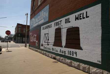 Mural on a the side of an old Rexall Drug.