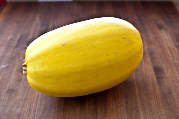 Spaghetti Squash photo stolen from steamykitchen.com, because I forgot to take a picture before cutting into mine.  Oops!