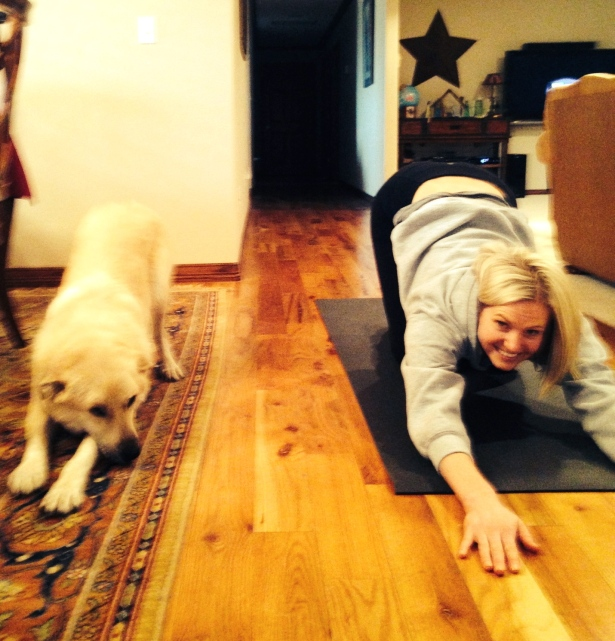 Anybody can do yoga!  Even Charlie practices his happy puppy pose.