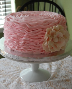 The most recent ruffle cake I made for a sweet baby girl.  Very loose, flat ruffles.