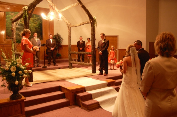 Katy walking down the aisle.