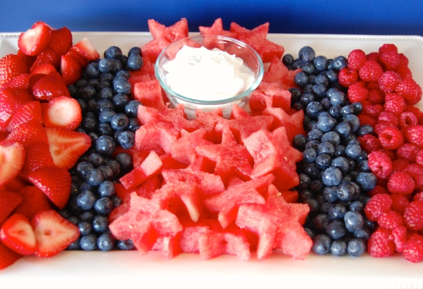 Star-spangled fruit tray.