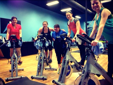Friday morning spin class at Next Level Fitness Studio.