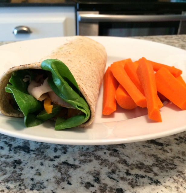 Flat-Out, Hummus, Spinach, Orange Bell Pepper, Mesquite Turkey… Bliss.