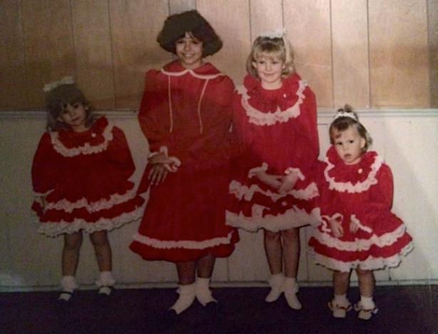 My cousins and I always had matching dresses for Christmas and Easter. We look like Christmas cotton balls...